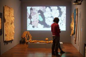 Visitors explore the Pura Fibra exhibition at Colombia's Museo Nacional.