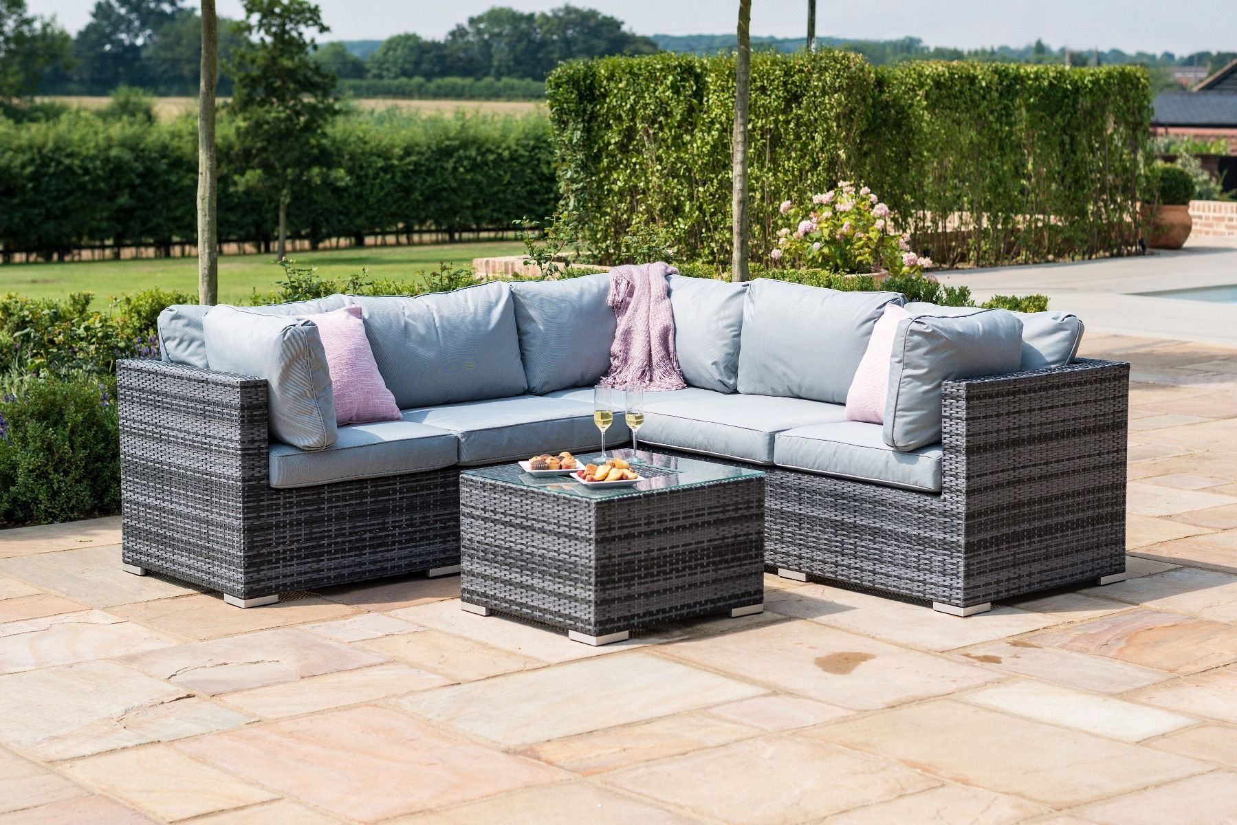 Maze Rattan Porto Corner Sofa Set Grey The Clearance Zone - Garden Furniture Clearance Edinburgh