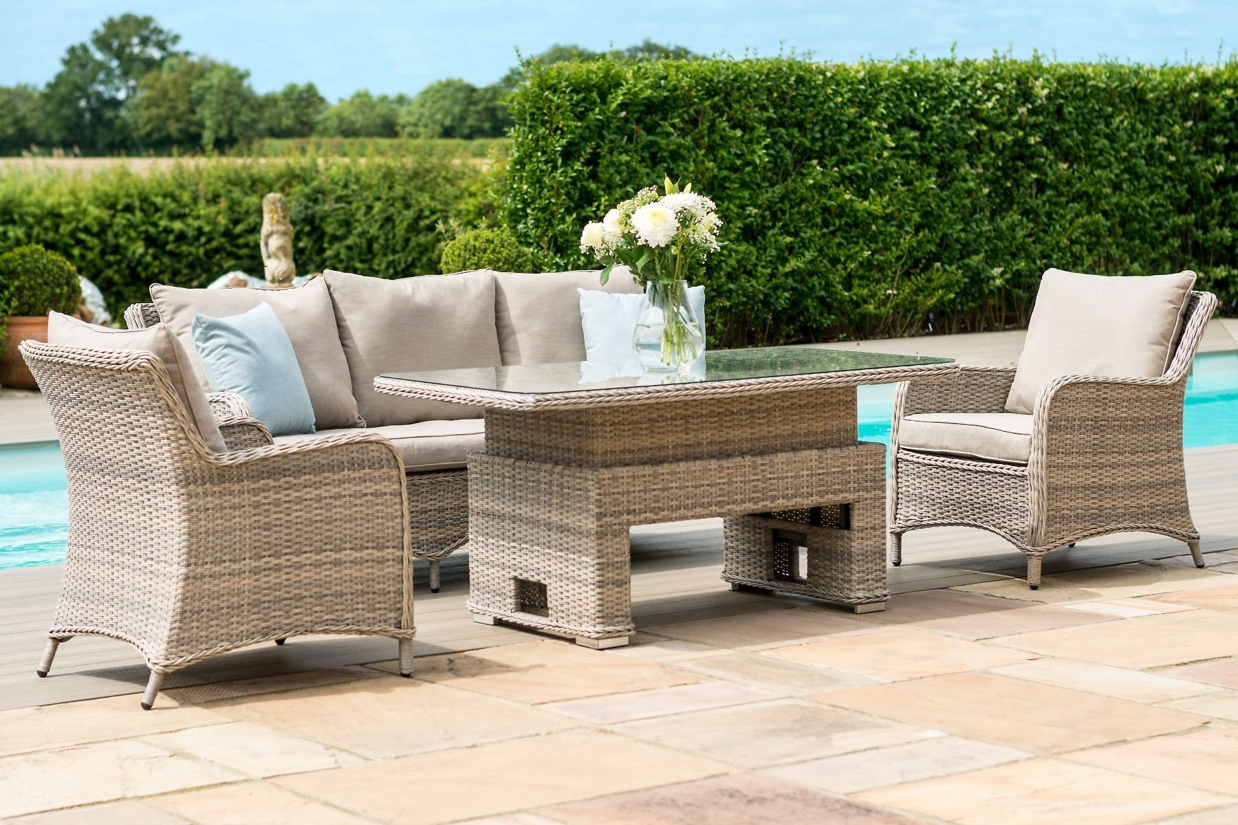 Maze Rattan Cotswold 3 Seat Sofa Dining With Rising Table The - Garden Furniture Clearance Leeds