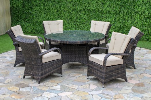Maze Rattan Texas 6 Seater Round Dining Set The Clearance Zone - Garden Furniture Clearance Company Uk