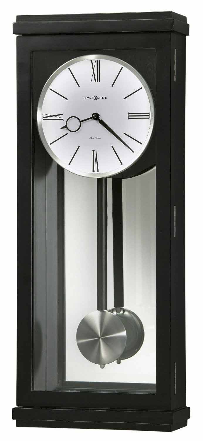 Black Wall Clock Howard Miller Alvarez 625 440 Contemporary Chiming Wall Clock
