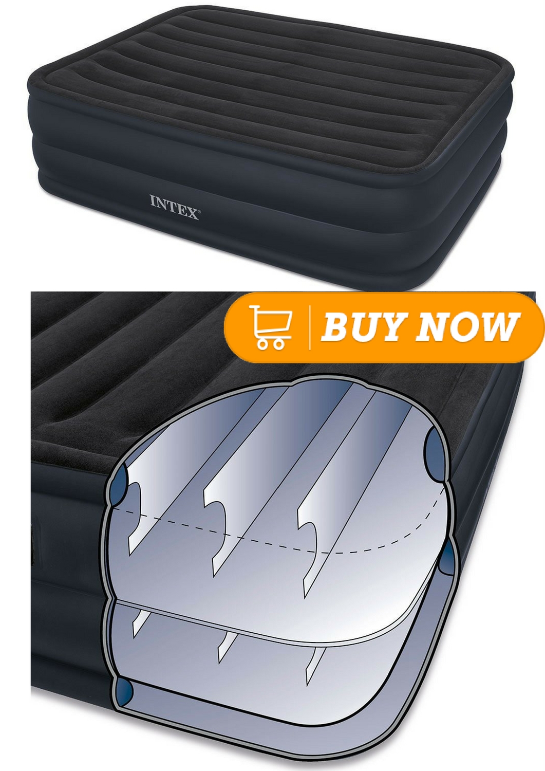 Intex Built In Pump Intex Raised Downy Airbed With Built In Electric Pump Queen Bed