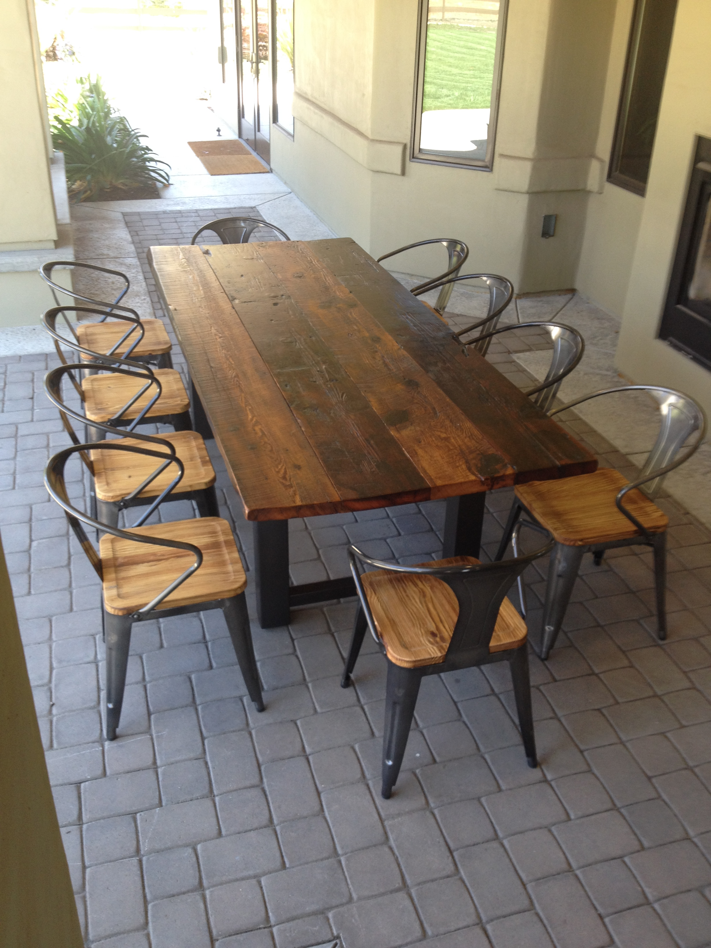 Diy 8 Person Dining Table Reclaimed Wood Outdoor Furniture Rustic Outdoor Tables
