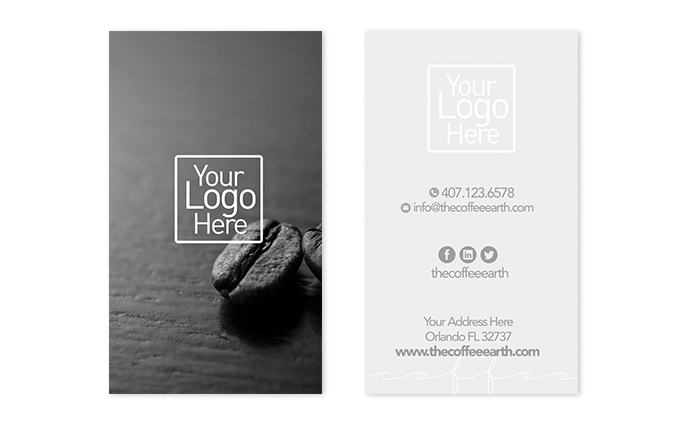 Vertical Business Card Template 1 - The Coffee Earth - vertical business card