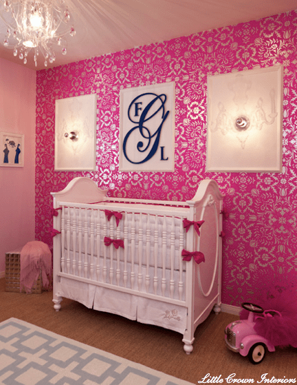 Damask Wallpaper For Girl Nursery Fuchsia For Nurseries Archives The Colorful Beethe