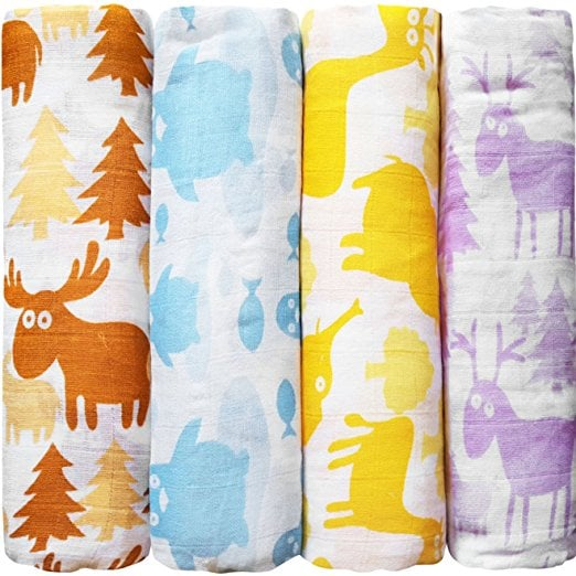 muslin-baby-swaddle-blankets-colorful-critters-4-pack-cuddlebug-47-x-47-inch-large-muslin-swaddles-soft-cotton-blankets-baby-shower-gift