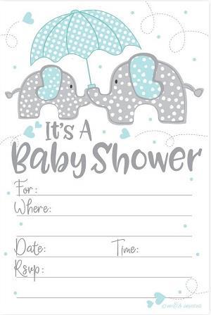 Blue Elephant Boy Baby Shower Invitations