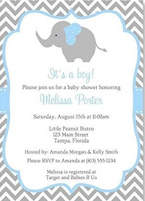 Elephant Baby Shower Invitations Boys