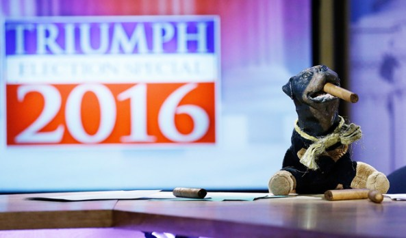 Triumph the Insult Comic Dog hits the 2016 presidential primary trail for Hulu and Funny or Die