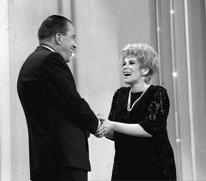 THE ED SULLIVAN SHOW Ed Sullivan with Joan Rivers. (Photo by CBS via Getty Images) *** Local Caption *** Ed Sullivan;Joan Rivers