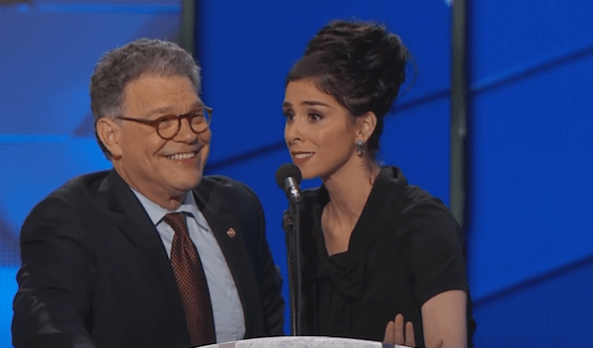 Al Franken and Sarah Silverman deliver speeches onstage during night one of the 2016 Democratic National Convention