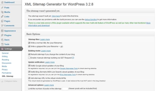 XML Sitemap generator wordpress page