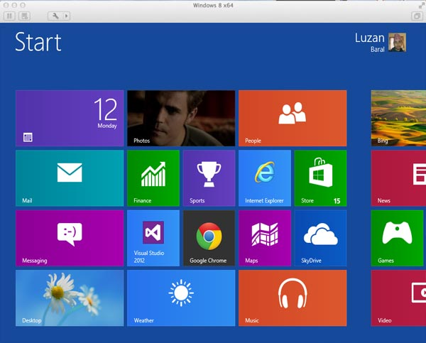 Start Screen after installing Windows 8 on Mac using VMware Fusion