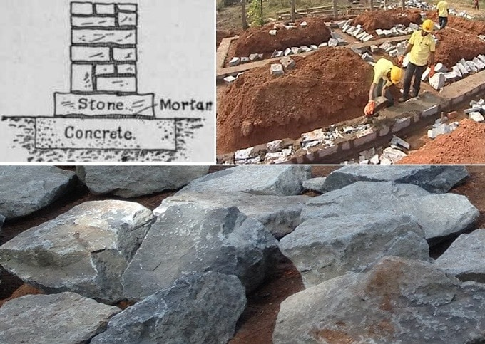 Construction of Stone Masonry Footing
