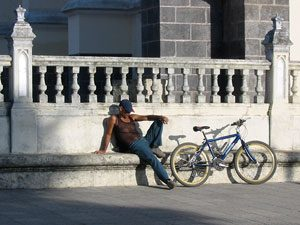 Tico taking a nap with his bike