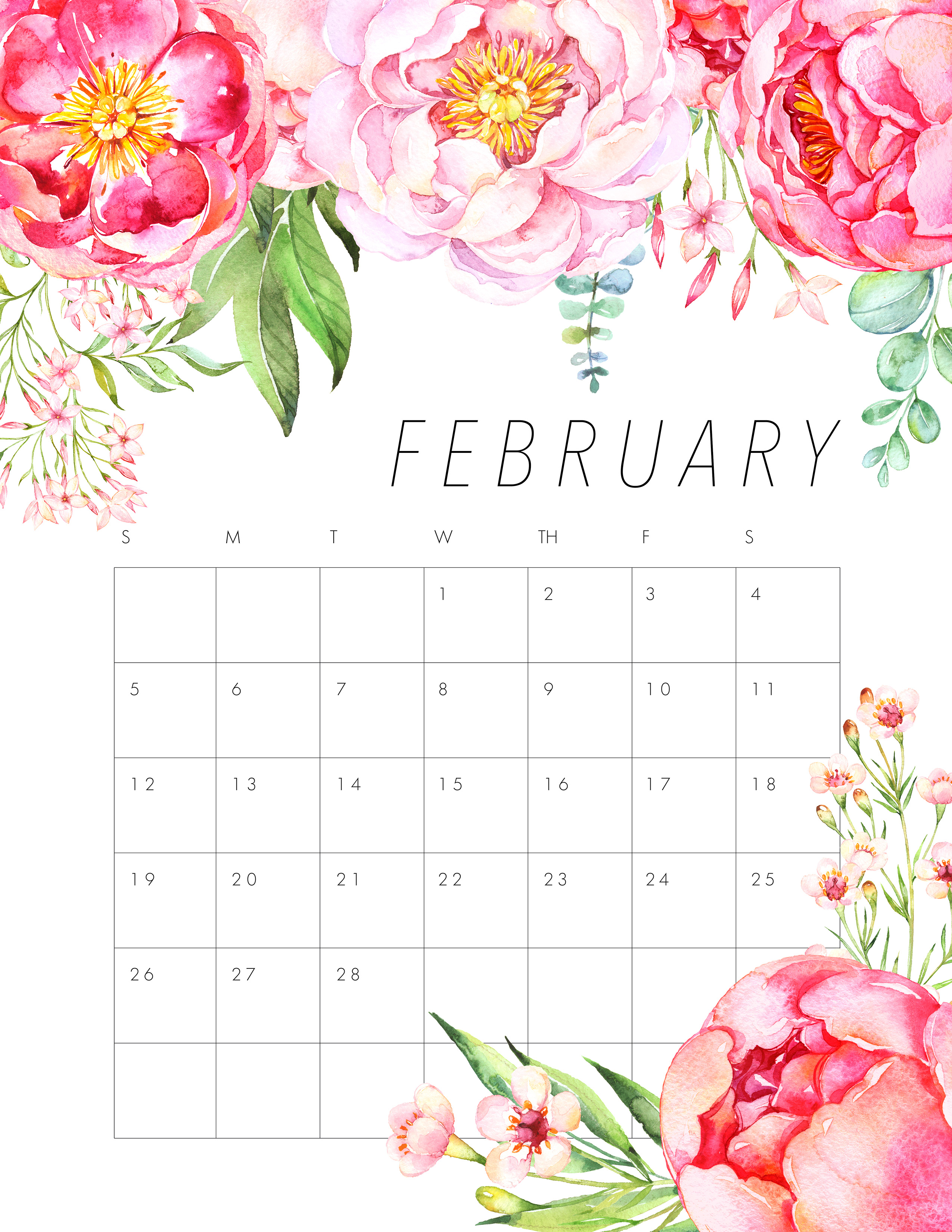 Whole Year Calendar Clipart Clipart Teaching Resources Teachers Pay Teachers Free Printable 2017 Floral Calendar The Cottage Market