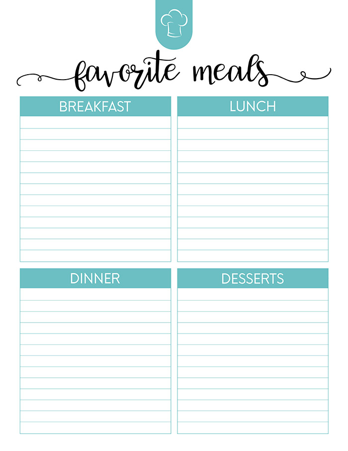 Free Printable Meal Planner Set - The Cottage Market