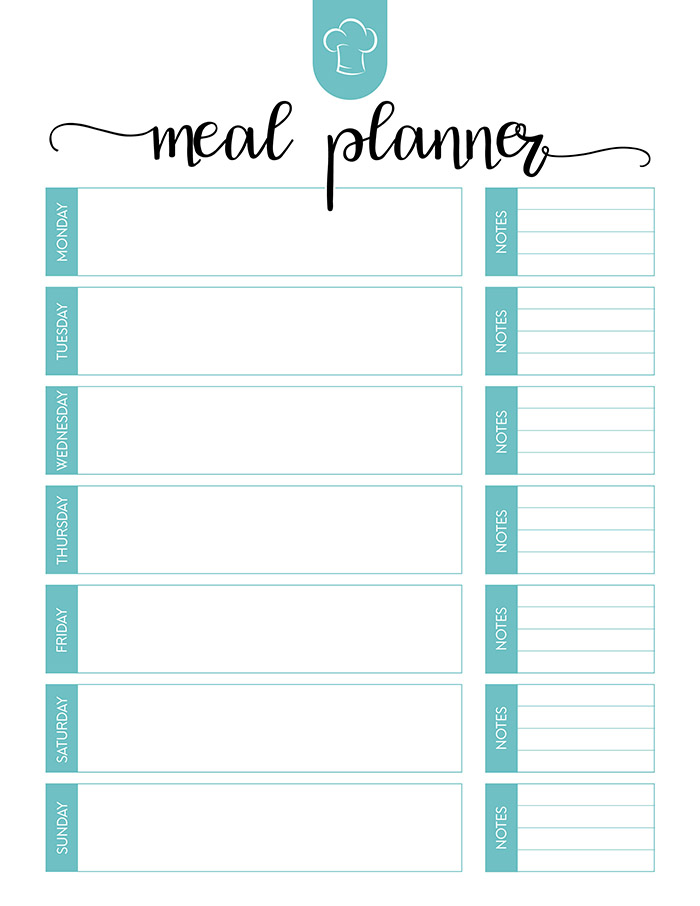 Free Printable Meal Planner Set - The Cottage Market - free menu planner template