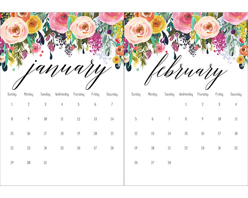 Cute November Calendar Wallpaper Free Printable 2017 Floral 5x7 Calendar The Cottage Market