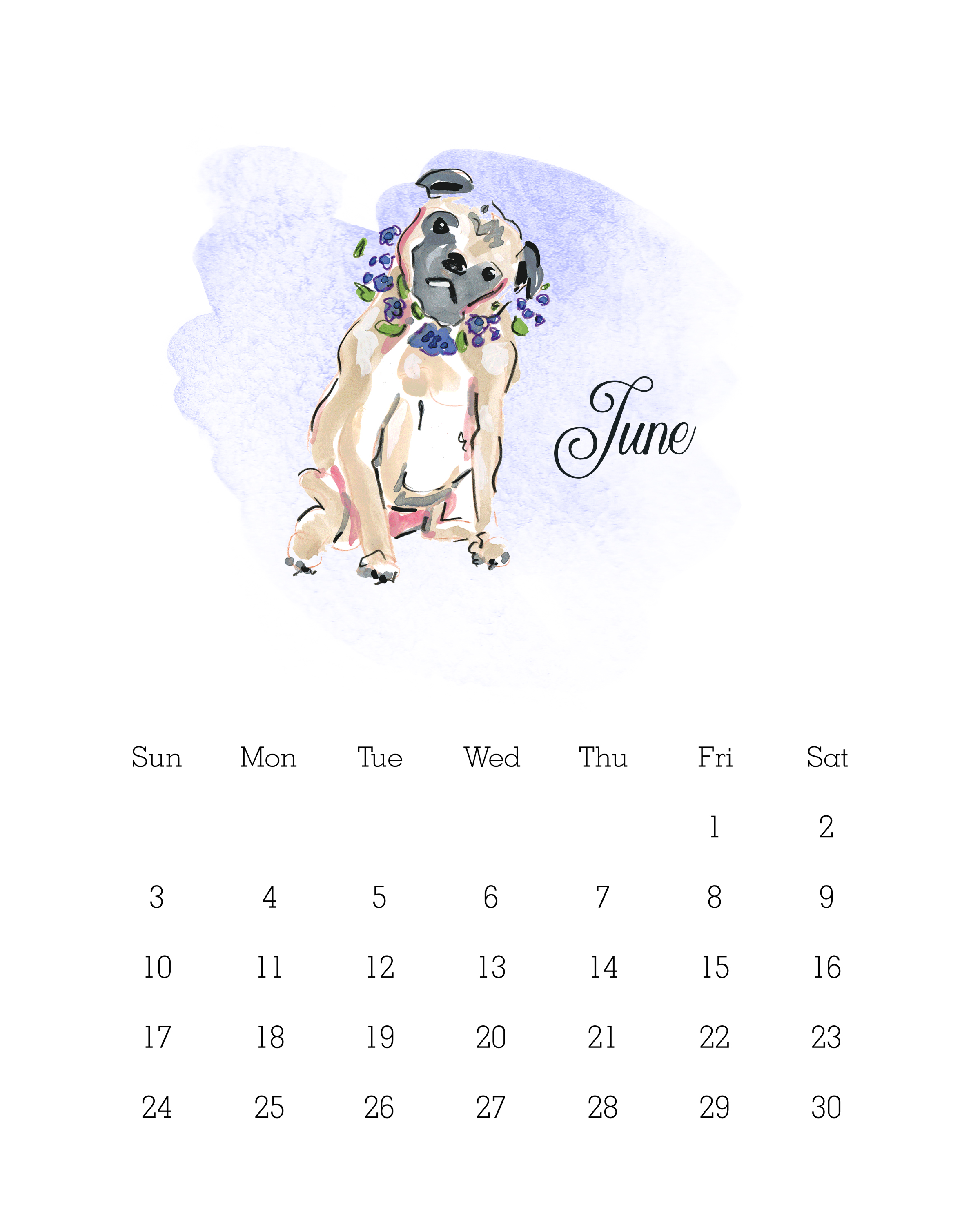 Cute November Calendar Wallpaper Free Printable 2018 Watercolor Dog Calendar The Cottage