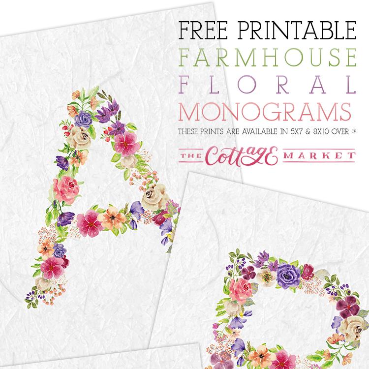 Free Printable Floral Monograms - The Cottage Market