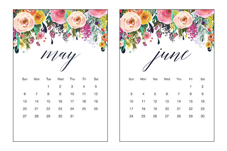 Free Printable 2018 Floral 5x7 Calendar - The Cottage Market