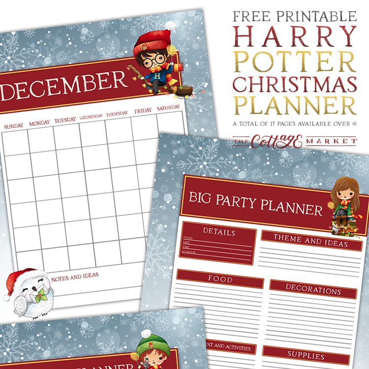 Free Printable Harry Potter Christmas Planner - The Cottage Market