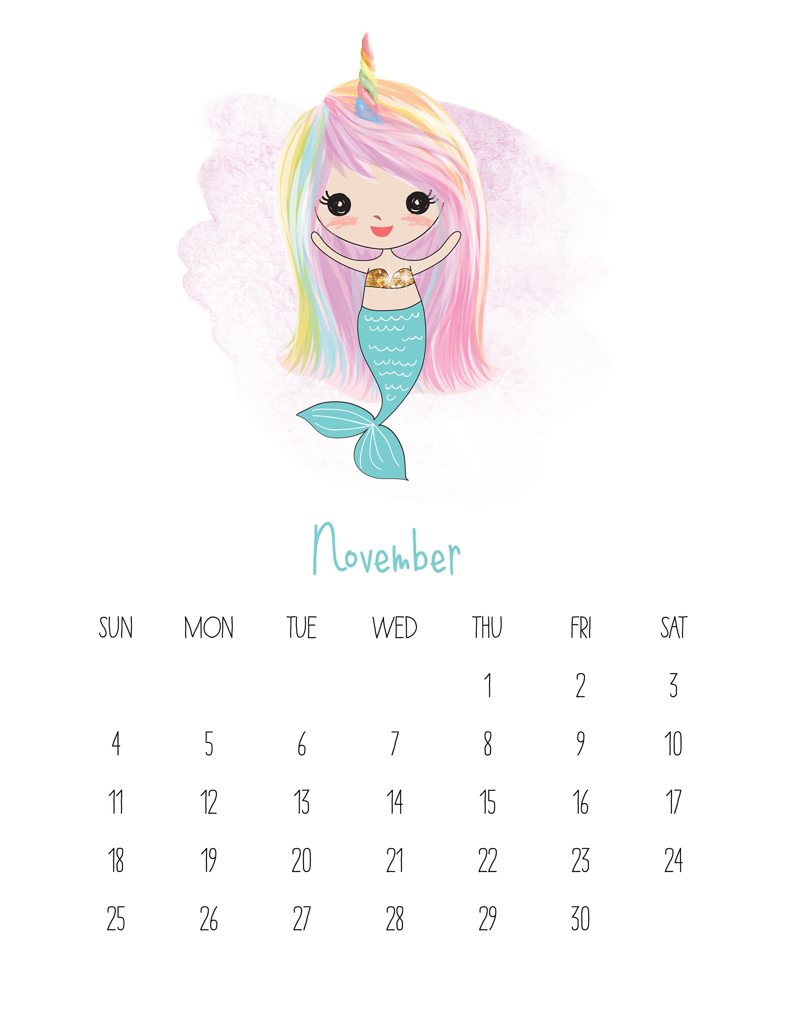Iphone 7 Water Wallpaper Free Printable 2018 Kawaii Mermaid Calendar The Cottage