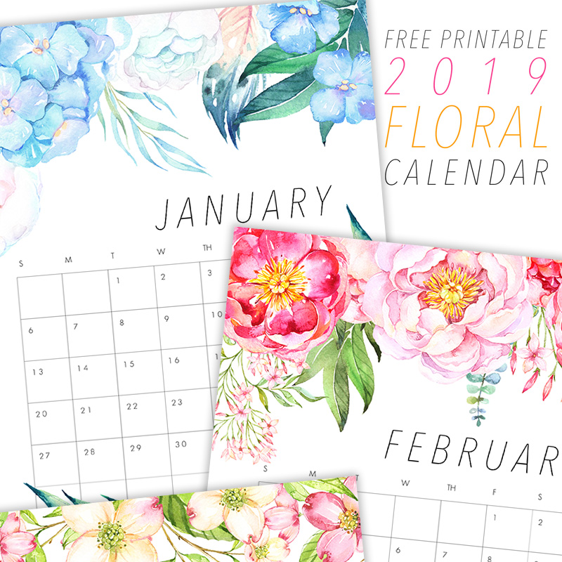 FREE PRINTABLE 2019 FLORAL CALENDAR - The Cottage Market