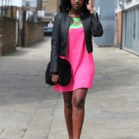 Colour Blocking - Mini Neon Dress