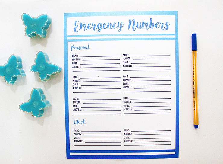 Free Printable Emergency Contact List The Craftables - printable contact list