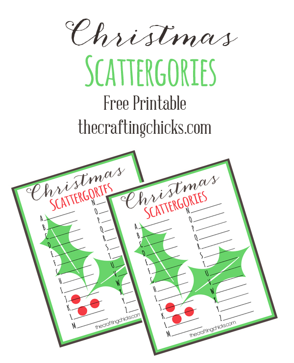 Christmas Scattergories Free Printable - The Crafting Chicks