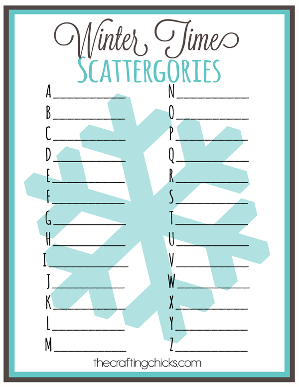 Winter Time Scattergories *Free Printable - The Crafting Chicks
