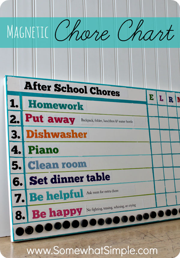 15 easy Chore Charts - sample chore chart
