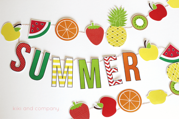 Watermelon Wallpaper Cute One Summer Fruit Garland Free Printable The Crafting Chicks