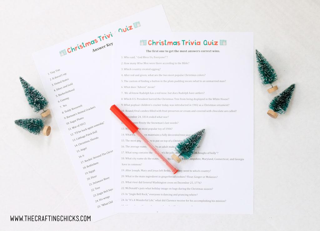 Christmas Trivia Quiz Free Printable - The Crafting Chicks