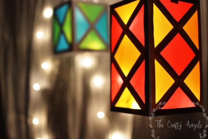 Diwali lantern making tutorial 13 the crafty angels for Simple diwali home decorations