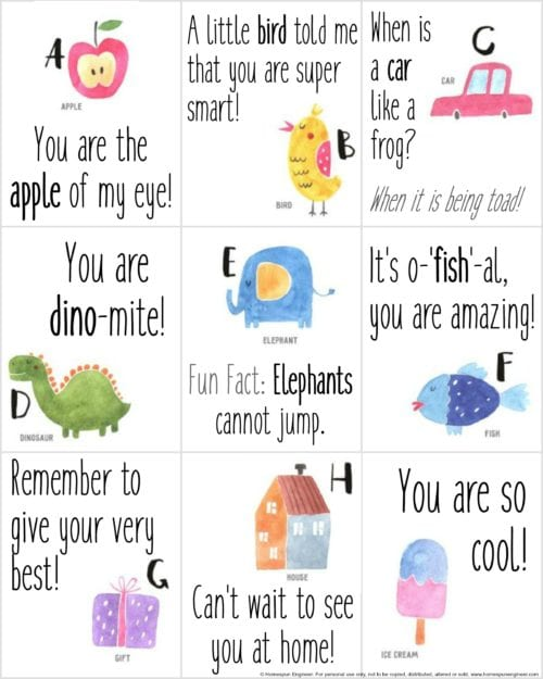 Free Printable Lunchbox Notes for Children - The Crafty Blog Stalker