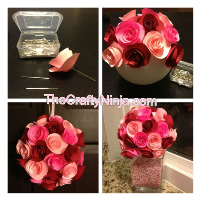 rose paper flower bouquet