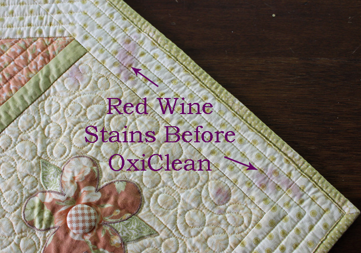 How to remove red wine stains from a quilt @ The Crafty Quilter