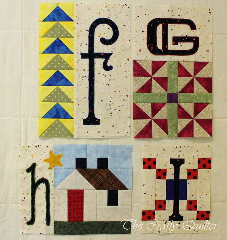 """F thru I"" Blocks from A-Z for Ewe and Me, designed by Janet Stone, made by Julie Cefalu"