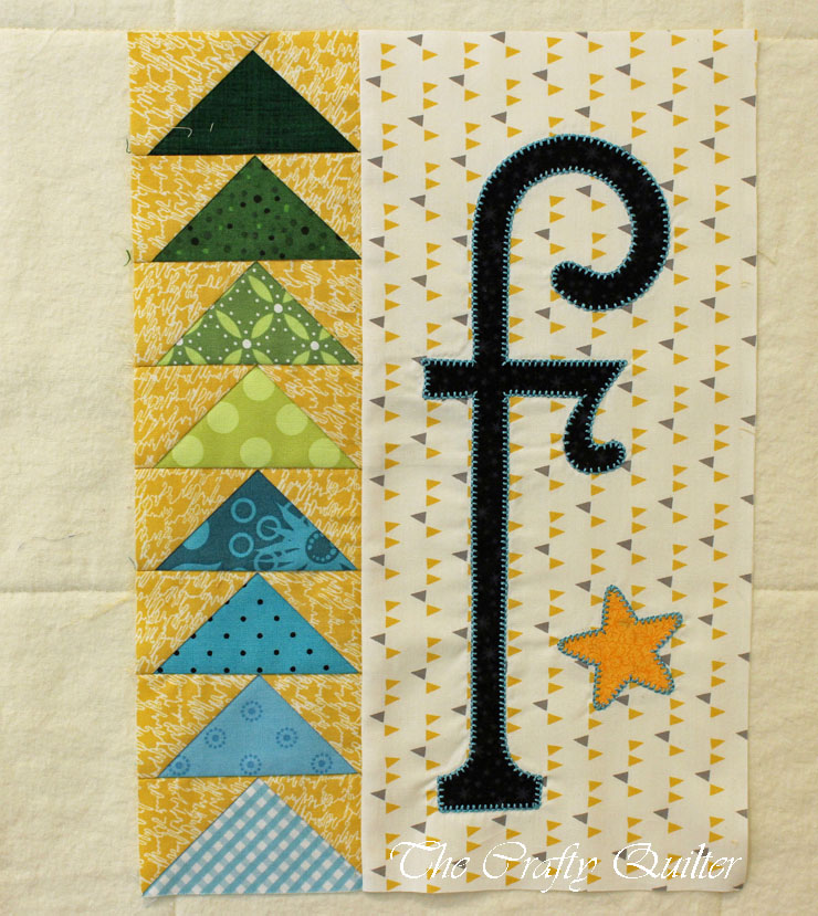 """F"" Block, from A-Z for Ewe and Me, designed by Janet Stone, Made by Julie Cefalu"