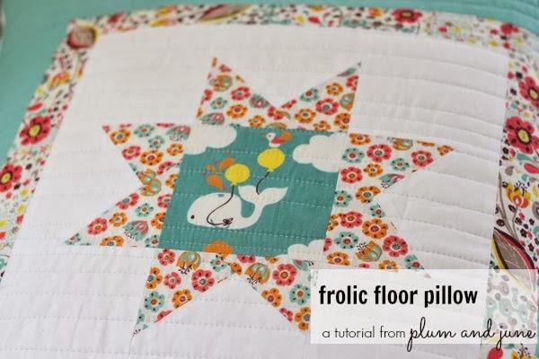 Frolic Floor Pillow Tutorial by Plum and June @ Birch Fabrics