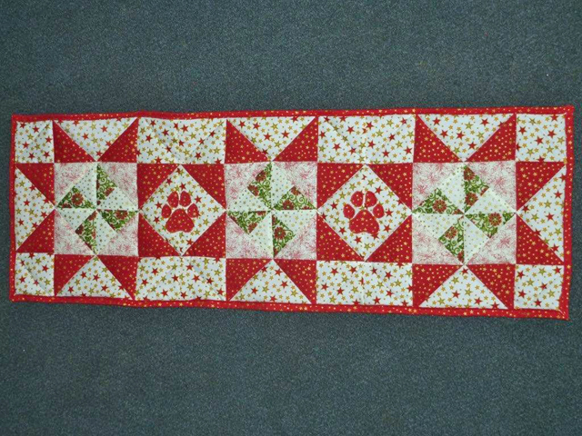 Pinwheels and Paws tablerunner