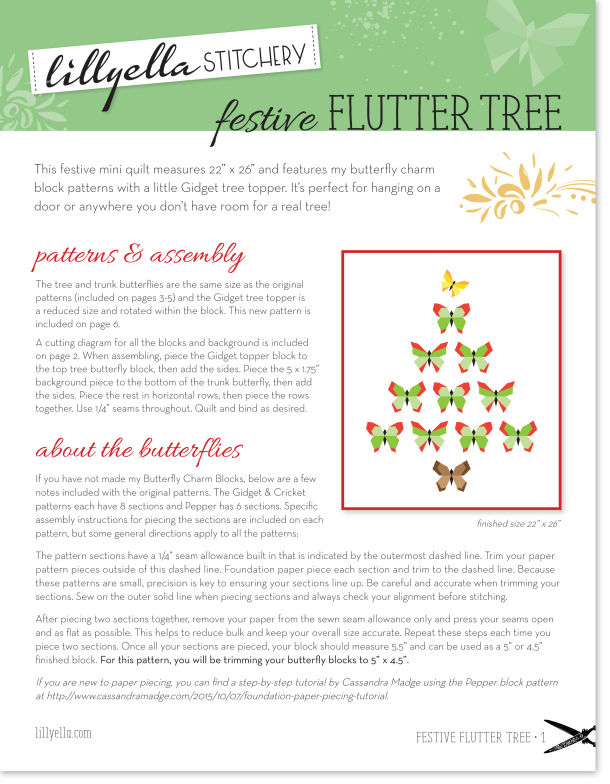 Festive Flutter Tree, free mini quilt pattern at Lillyella