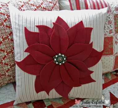 Poinsettia Pillow Tutorial by Julie Cefalu @ The Crafty Quilter