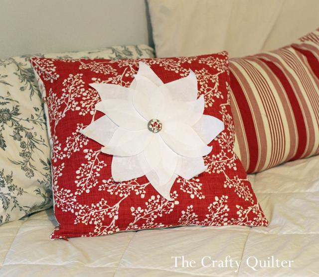 poinsettia pillow white copy