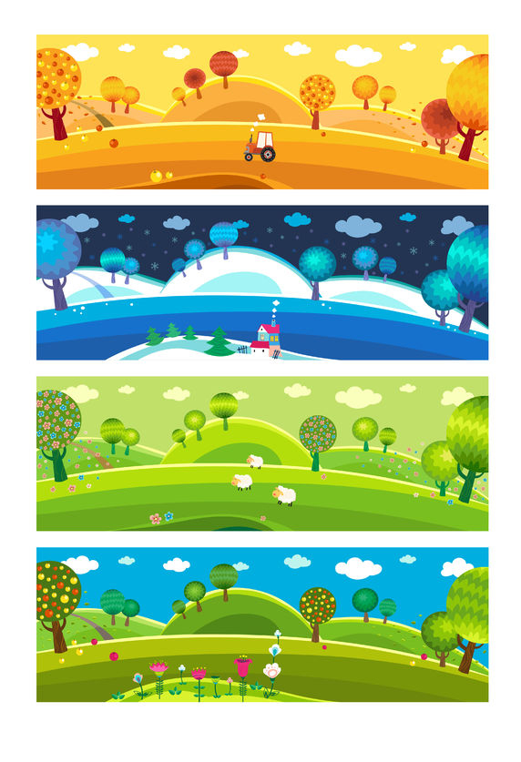 22960803 - four seasons: winter, spring, summer, autumn. vector.