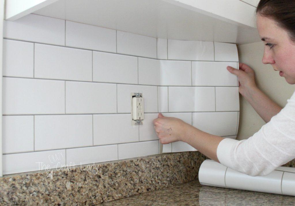 3d Brick Wallpaper For Walls White Subway Tile Temporary Backsplash The Full Tutorial