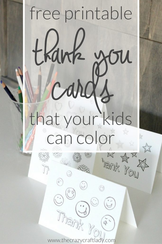 Printable Thank You Card Coloring Sheets - The Crazy Craft Lady